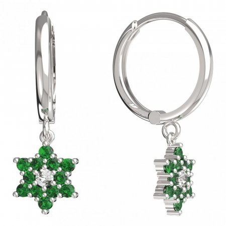 BeKid, Gold kids earrings -090 - Switching on: Circles 15 mm, Metal: White gold 585, Stone: Green cubic zircon