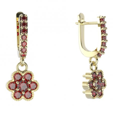 BG circular earring 140-84 - Metal: Yellow gold 585, Stone: Moldavit and garnet