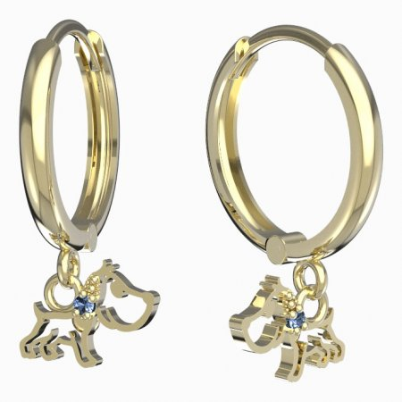 BeKid, Gold kids earrings -1159 - Switching on: Circles 15 mm, Metal: Yellow gold 585, Stone: Light blue cubic zircon