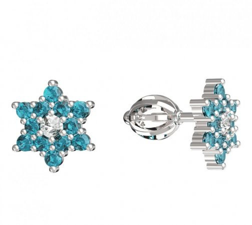 BeKid, Gold kids earrings -090 - Switching on: Screw, Metal: White gold 585, Stone: Light blue cubic zircon