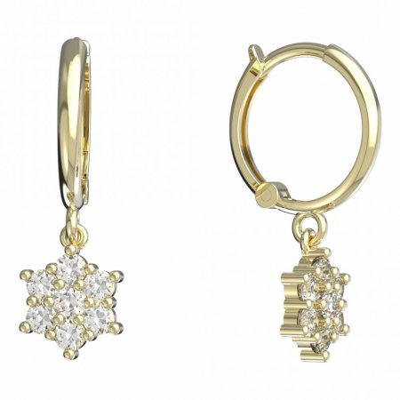 BeKid, Gold kids earrings -109 - Switching on: Circles 12 mm, Metal: Yellow gold 585, Stone: White cubic zircon