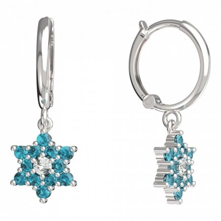 BeKid, Gold kids earrings -090 - Switching on: Circles 12 mm, Metal: White gold 585, Stone: Light blue cubic zircon