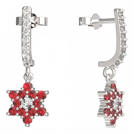 BeKid, Gold kids earrings -090 - Switching on: Pendant hanger, Metal: White gold 585, Stone: Red cubic zircon