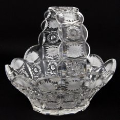 Hand cut crystal basket highly decorated 145 Šafránek