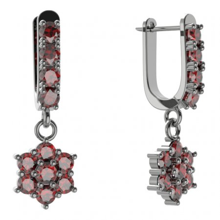 BG Earring - 002 - Switching on: Hinge, Metal: Silver - gold plated 925, Stone: Garnet