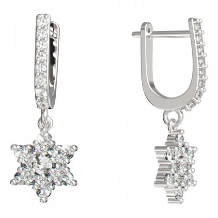 BeKid, Gold kids earrings -090 - Switching on: English, Metal: White gold 585, Stone: Diamond