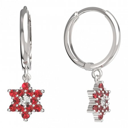 BeKid, Gold kids earrings -090 - Switching on: Circles 15 mm, Metal: White gold 585, Stone: Red cubic zircon