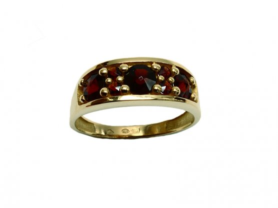 BG garnet ring 681 - Metal: Silver - gold plated 925, Stone: Garnet