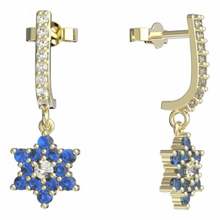 BeKid, Gold kids earrings -090 - Switching on: Pendant hanger, Metal: Yellow gold 585, Stone: Dark blue cubic zircon