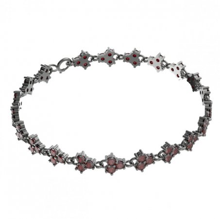 BG bracelet 195 - Metal: Silver - gold plated 925, Stone: Moldavit and garnet