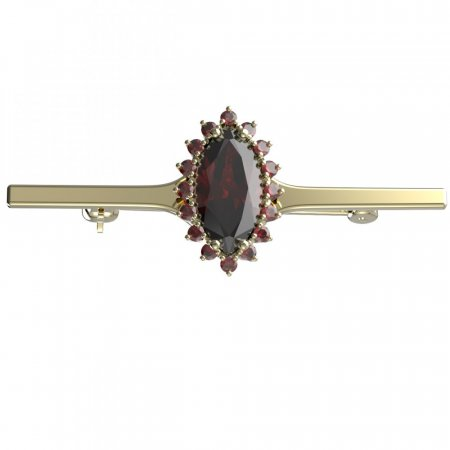BG brooch 513I - Metal: Yellow gold 585, Stone: Moldavite and cubic zirconium