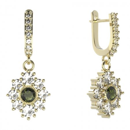 BG circular earring 017-84 - Metal: White gold 585, Stone: Moldavite and cubic zirconium