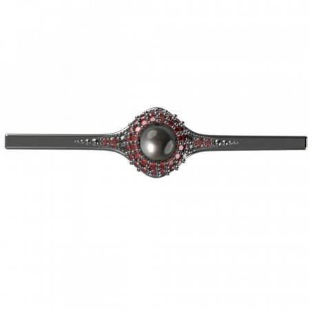 BG brooch 540K - Metal: Silver - gold plated 925, Stone: Garnet and Tahiti Pearl