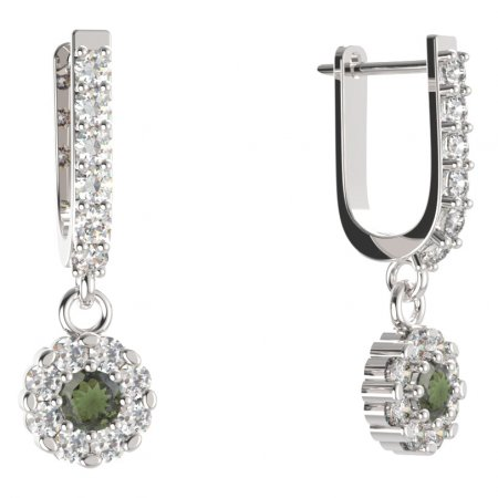 BG circular earring 088-94 - Metal: Yellow gold 585, Stone: Moldavite and cubic zirconium