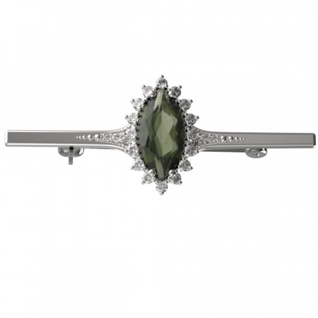 BG brooch 513K - Metal: Silver 925 - ruthenium, Stone: Moldavit and garnet