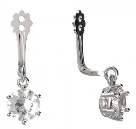 BeKid Gold earrings components I5 - Metal: White gold 585, Stone: Dark blue cubic zircon