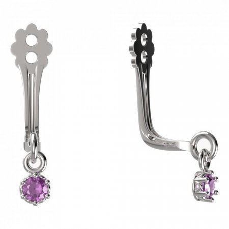 BeKid Gold earrings components I2 - Metal: White gold 585, Stone: Pink cubic zircon