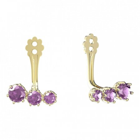 BeKid Gold earrings components  three stones - Metal: Yellow gold 585, Stone: Light blue cubic zircon