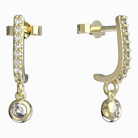 BeKid, Gold kids earrings -101 - Switching on: Circles 15 mm, Metal: White gold 585, Stone: Dark blue cubic zircon