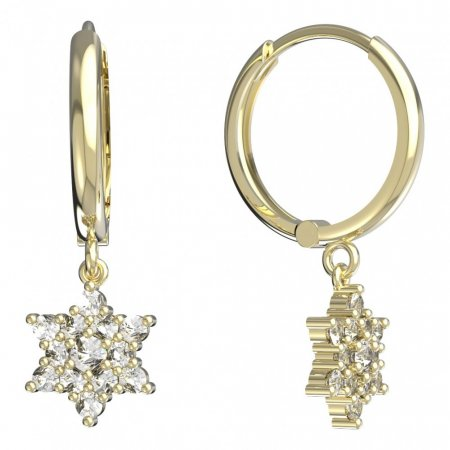 BeKid, Gold kids earrings -090 - Switching on: Circles 15 mm, Metal: White gold 585, Stone: Dark blue cubic zircon
