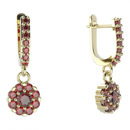 BG circular earring 088-84 - Metal: Yellow gold 585, Stone: Garnet