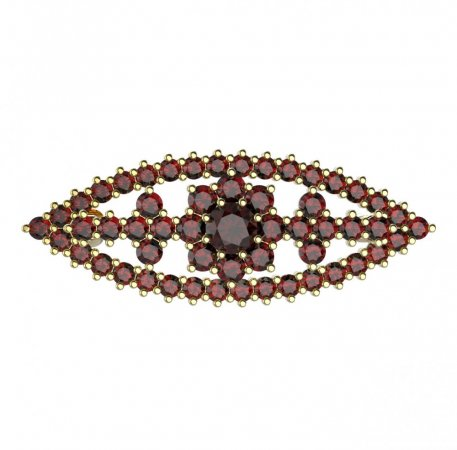 BG brooch 004 - Metal: Silver - gold plated 925, Stone: Garnet