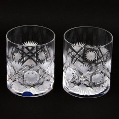 Set of two crystal hand cut glasses Šafránek 412