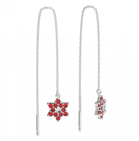 BeKid, Gold kids earrings -090 - Switching on: Chain 9 cm, Metal: White gold 585, Stone: Red cubic zircon