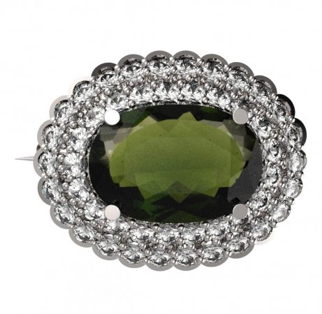 BG brooch 485 - Metal: White gold 585, Stone: Moldavit and garnet