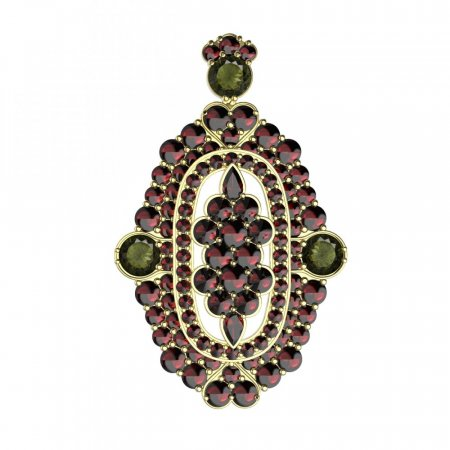 BG brooch 348 - Metal: Silver 925 - ruthenium, Stone: Moldavit and garnet