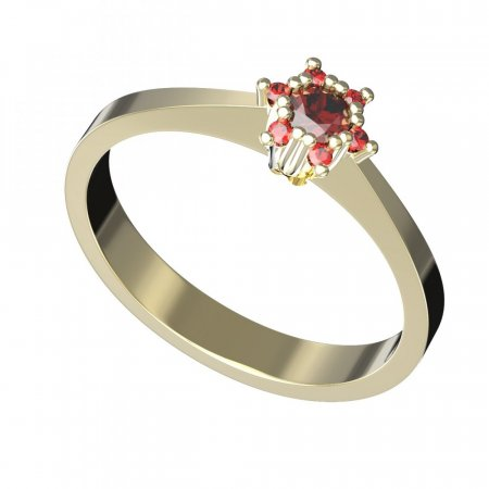 BG gold ring garnet or moldavit 765 - Metal: Yellow gold 585, Stone: Moldavite and cubic zirconium