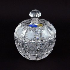 Hand cut modern crystal box with lid 964 Šafránek
