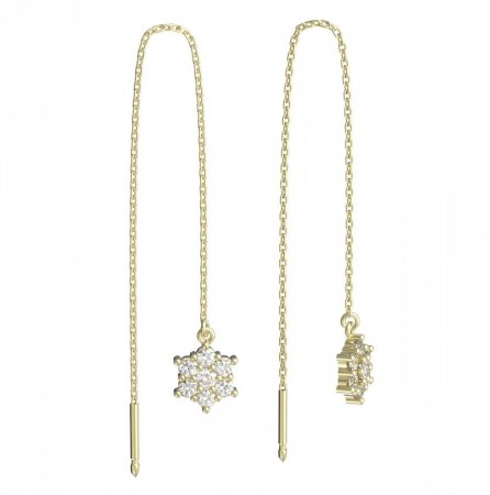 BeKid, Gold kids earrings -109 - Switching on: Pendant hanger, Metal: White gold 585, Stone: Green cubic zircon