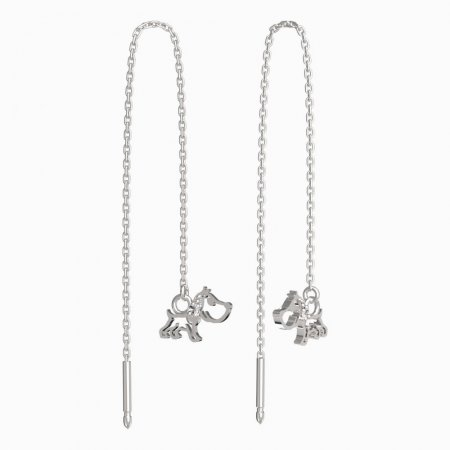 BeKid, Gold kids earrings -1159 - Switching on: Chain 9 cm, Metal: White gold 585, Stone: White cubic zircon