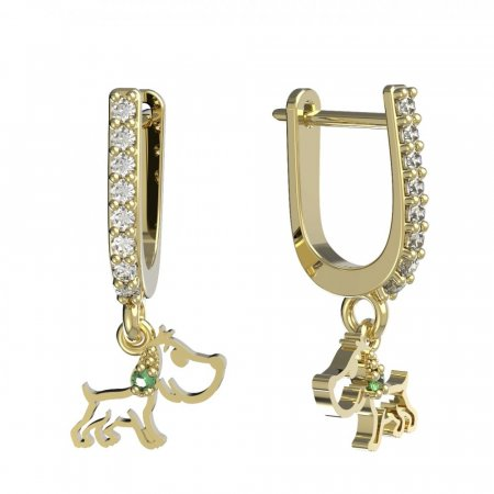 BeKid, Gold kids earrings -1159 - Switching on: English, Metal: Yellow gold 585, Stone: Green cubic zircon