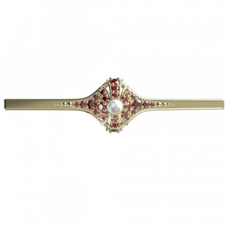BG brooch 537K - Metal: Silver 925 - ruthenium, Stone: Garnet and Tahiti Pearl