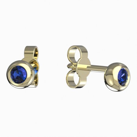 BeKid, Gold kids earrings -101 - Switching on: Puzeta, Metal: Yellow gold 585, Stone: Dark blue cubic zircon