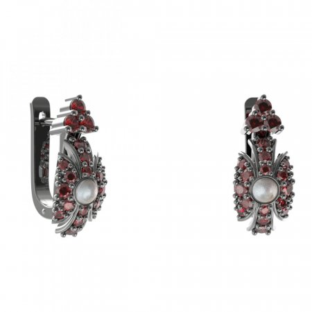 BG earring pearl 537-87 - Metal: Silver 925 - rhodium, Stone: Garnet and pearl