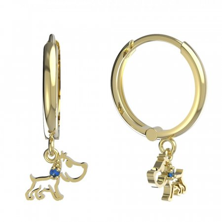 BeKid, Gold kids earrings -1159 - Switching on: Circles 15 mm, Metal: Yellow gold 585, Stone: Dark blue cubic zircon