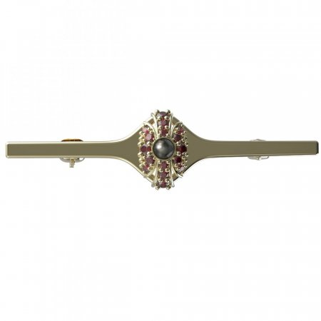 BG brooch 537I - Metal: Silver - gold plated 925, Stone: Garnet and Tahiti Pearl