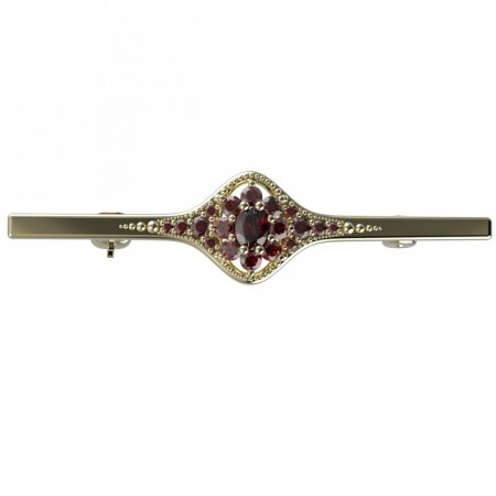 BG brooch 627K - Metal: Yellow gold 585, Stone: Moldavit and garnet