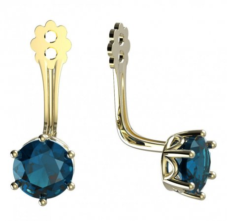 BeKid Gold earrings components 5 - Metal: Yellow gold 585, Stone: Light blue cubic zircon