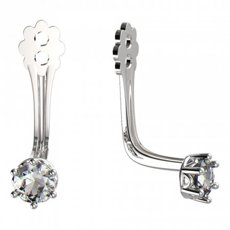 BeKid Gold earrings components 3 - Metal: White gold 585, Stone: Dark blue cubic zircon