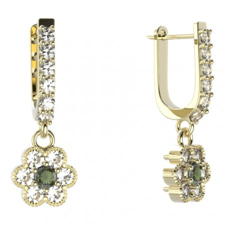 BG circular earring 140-94 - Metal: Yellow gold 585, Stone: Moldavit and garnet