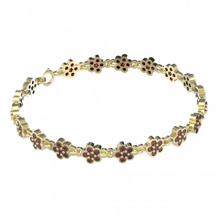 BG bracelet 520 - Metal: Yellow gold 585, Stone: Garnet