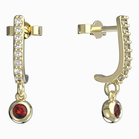 BeKid, Gold kids earrings -101 - Switching on: Pendant hanger, Metal: Yellow gold 585, Stone: Red cubic zircon