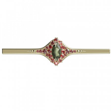BG brooch 504K - Metal: Yellow gold 585, Stone: Moldavite and cubic zirconium