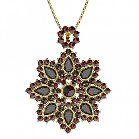 BG brooch 203 - Metal: Yellow gold 585, Stone: Moldavit and garnet