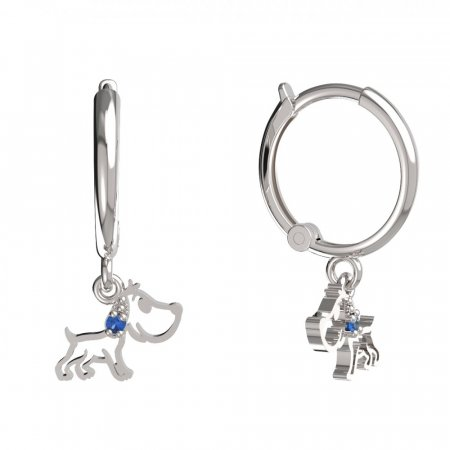 BeKid, Gold kids earrings -1159 - Switching on: Circles 12 mm, Metal: White gold 585, Stone: Dark blue cubic zircon