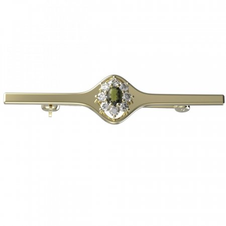 BG brooch 627I - Metal: Yellow gold 585, Stone: Moldavite and cubic zirconium